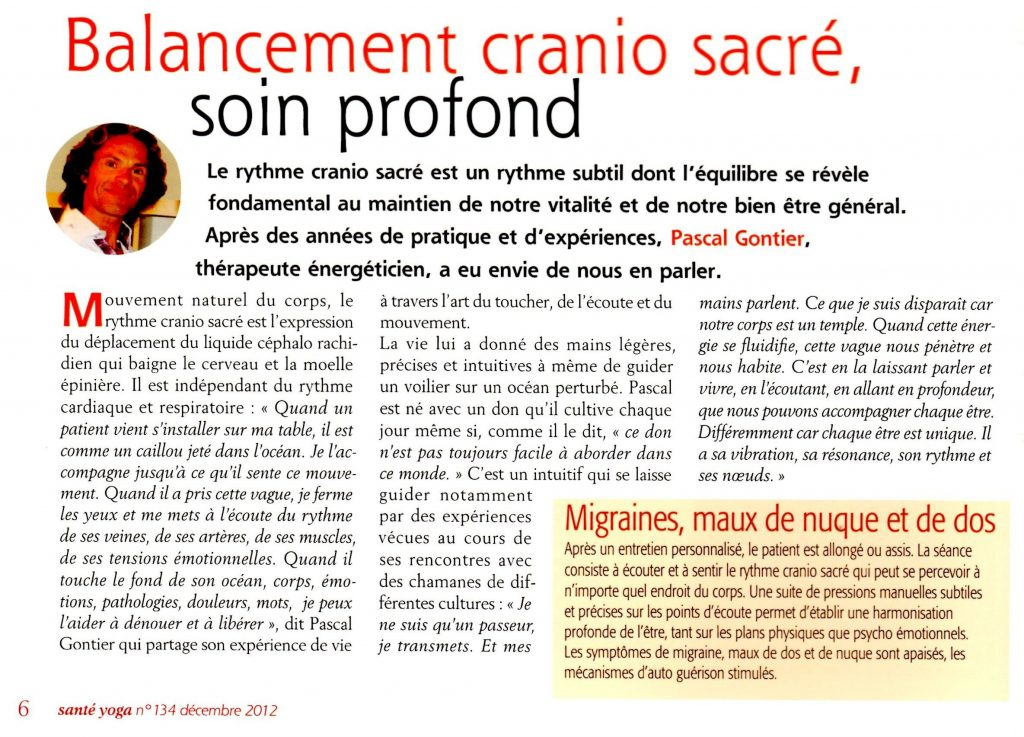 articles Sante Yoga Cranio Sacré